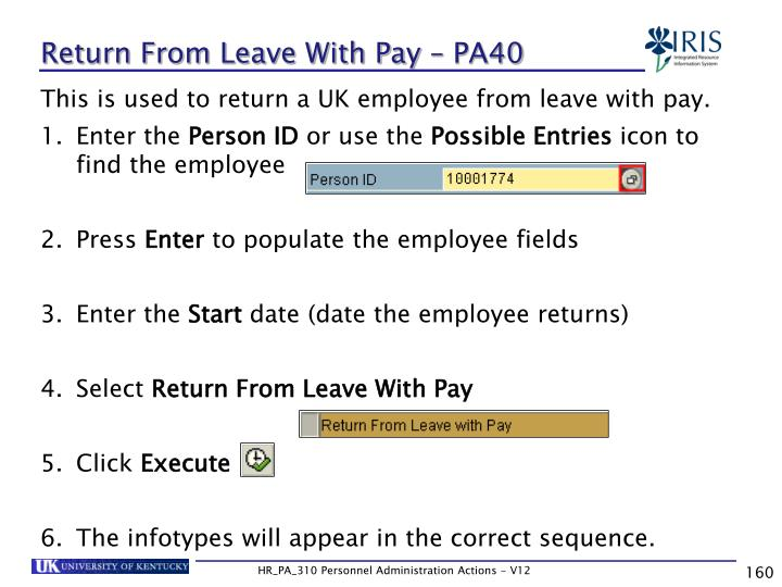 Return From Leave With Pay – PA40