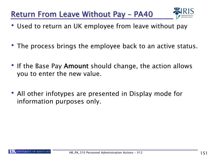 Return From Leave Without Pay – PA40