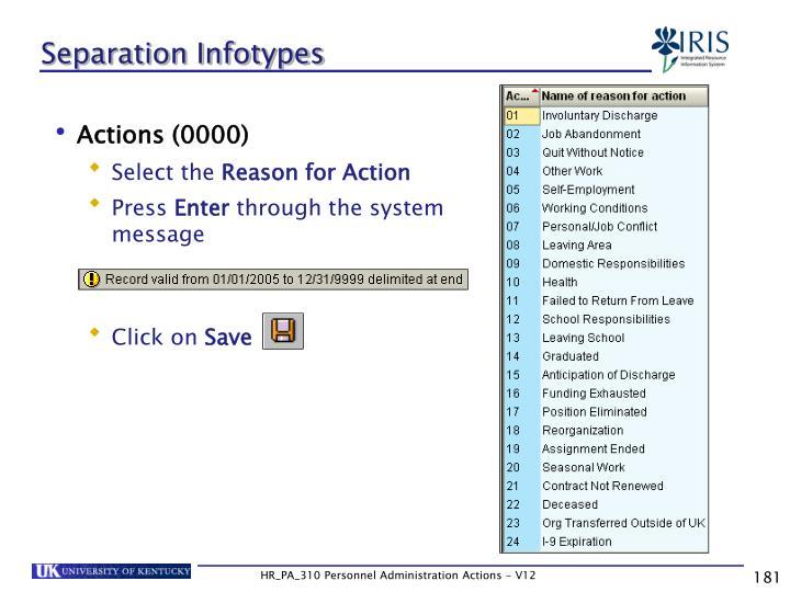 Separation Infotypes