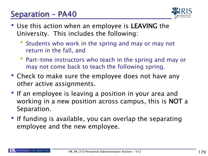 Separation – PA40