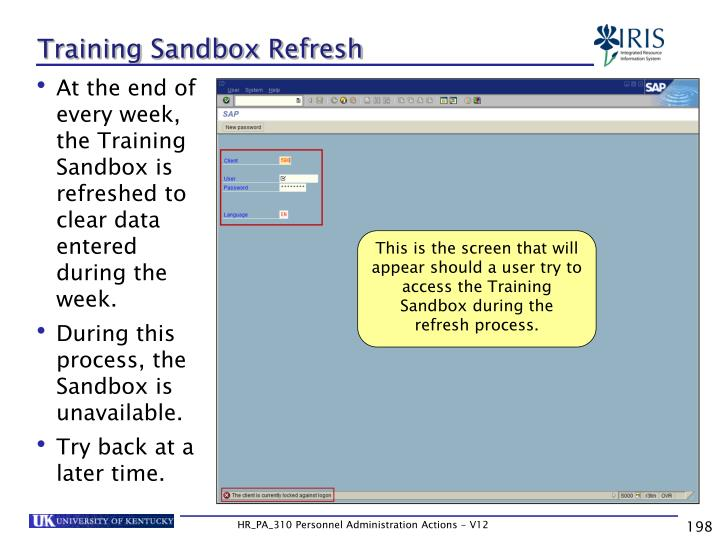 Training Sandbox Refresh