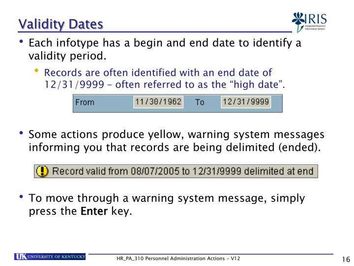 Validity Dates