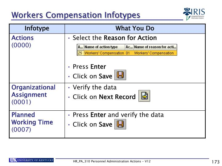 Workers Compensation Infotypes