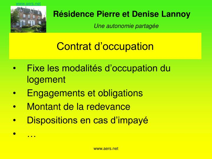 Contrat d'occupation