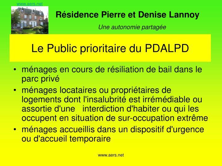 Le Public prioritaire du PDALPD
