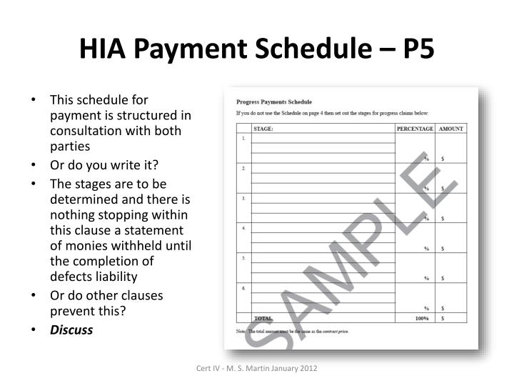 HIA Payment Schedule – P5