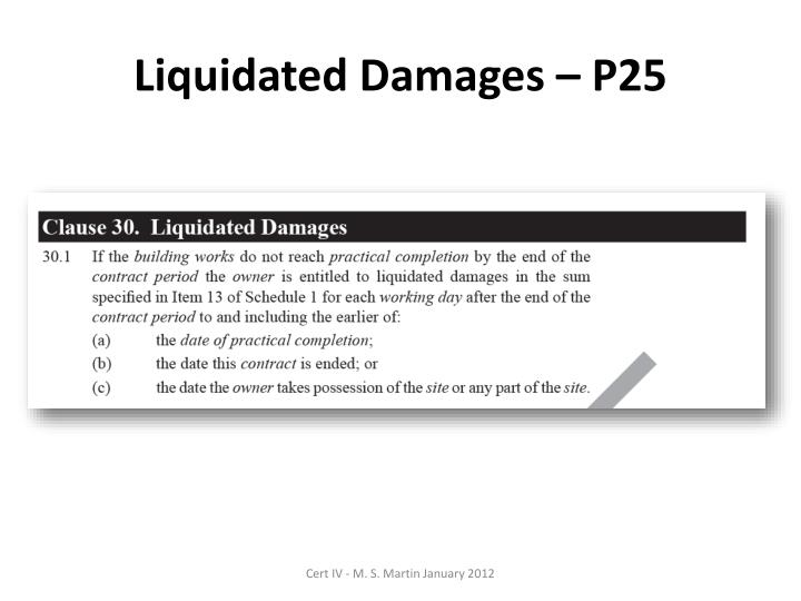 Liquidated Damages – P25