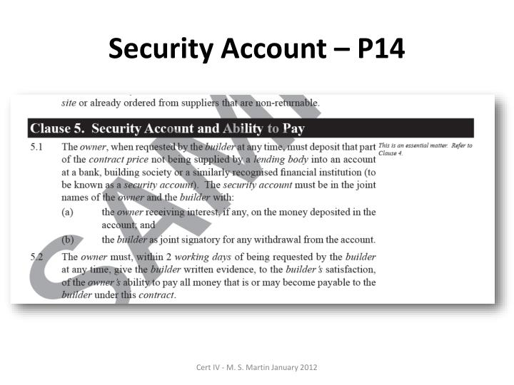 Security Account – P14