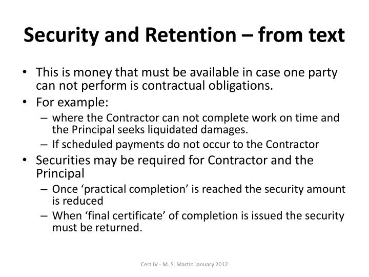 Security and Retention – from text