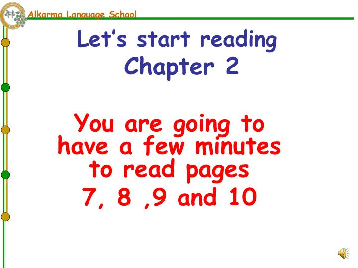 Let s start reading chapter 2