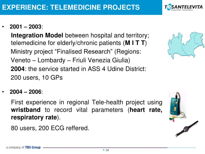 EXPERIENCE: TELEMEDICINE PROJECTS