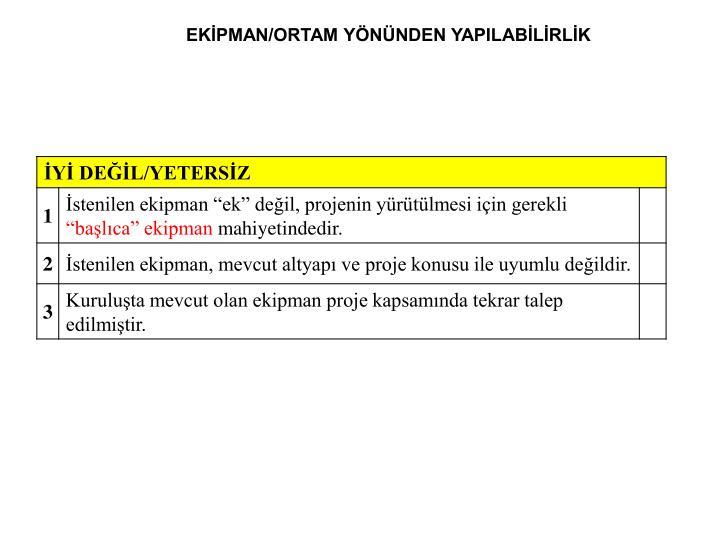 EKİPMAN/ORTAM YÖNÜNDEN YAPILABİLİRLİK