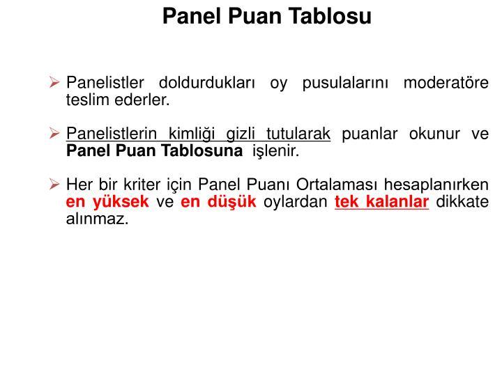 Panel Puan Tablosu