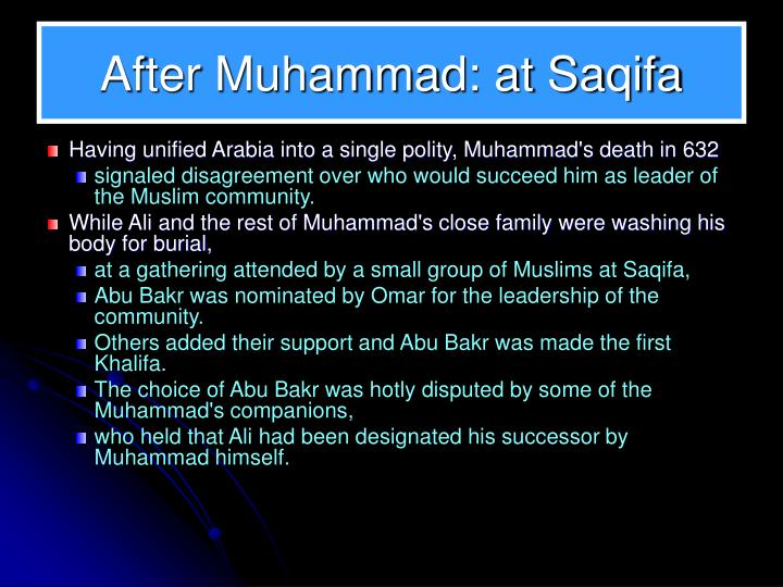 After Muhammad: at Saqifa