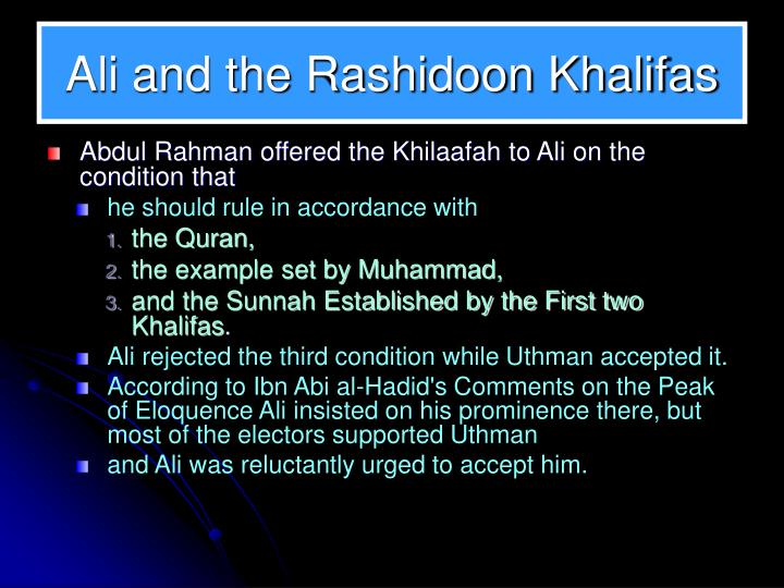 Ali and the Rashidoon Khalifas