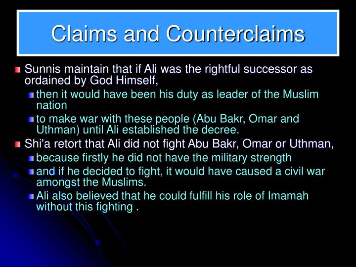 Claims and Counterclaims