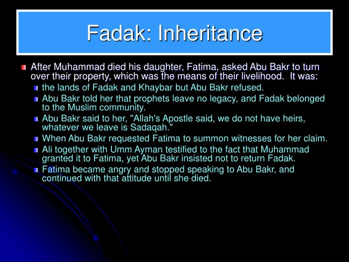 Fadak: Inheritance