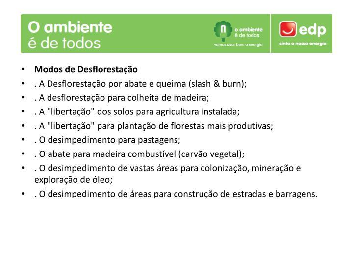 Modos de Desflorestação