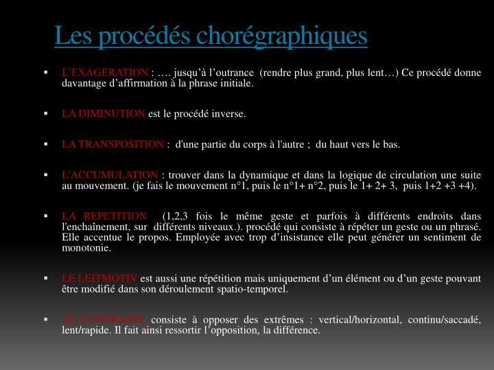 Les procédés chorégraphiques