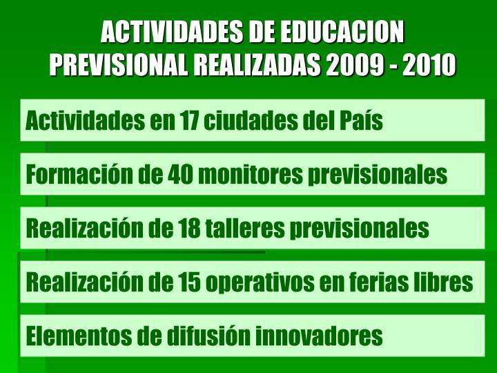 ACTIVIDADES DE EDUCACION PREVISIONAL REALIZADAS 2009 - 2010
