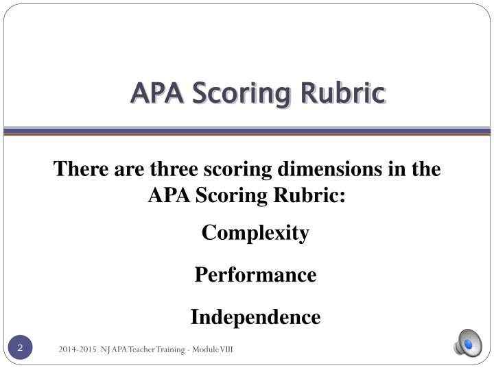 APA Scoring Rubric
