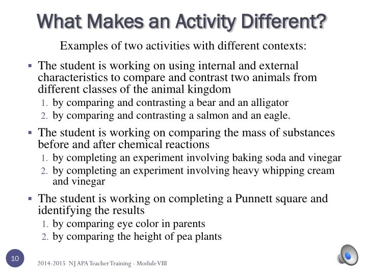 What Makes an Activity Different?