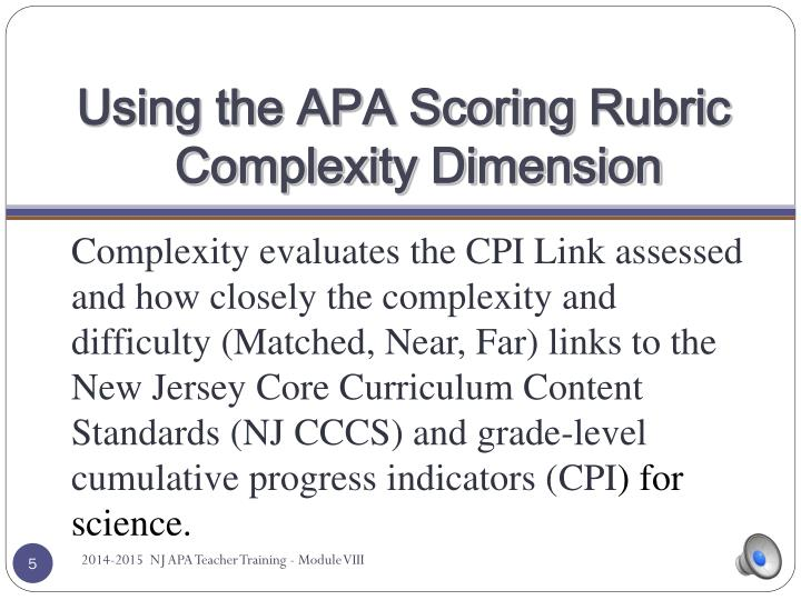 Using the APA Scoring