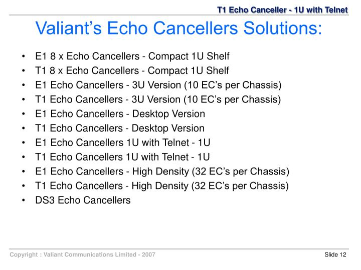 E1 8 x Echo Cancellers - Compact 1U Shelf