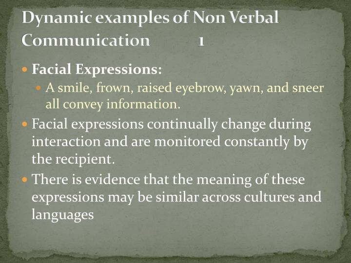 Dynamic examples of Non Verbal Communication