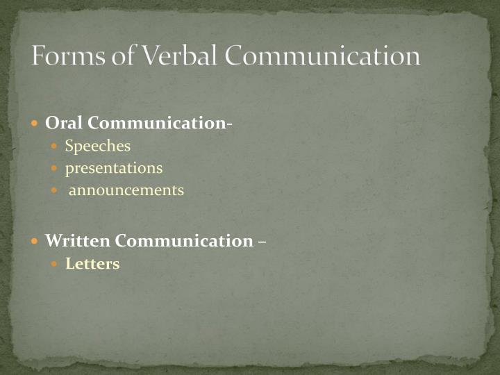 Forms of Verbal Communication