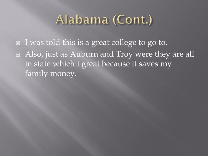 Alabama (Cont.)