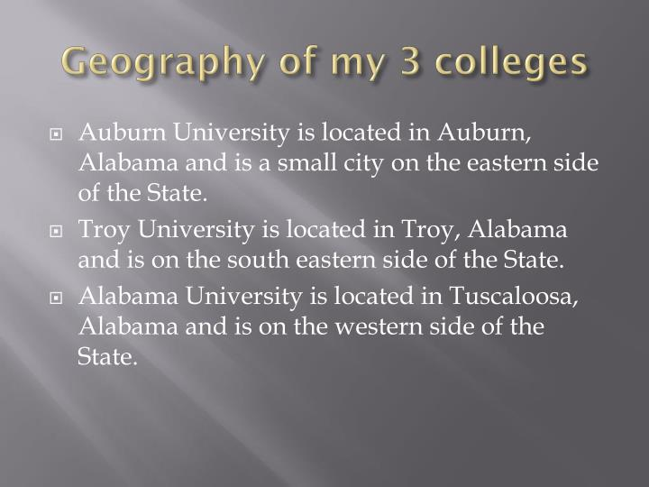 Geography of my 3 colleges