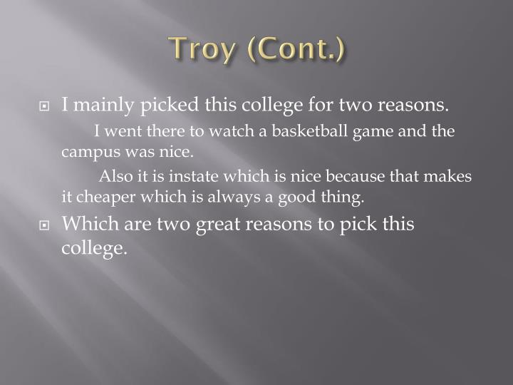 Troy (Cont.)