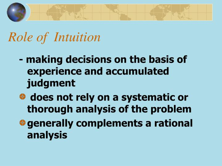 Role of  Intuition