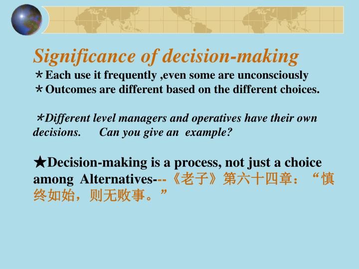 Significance of decision-making