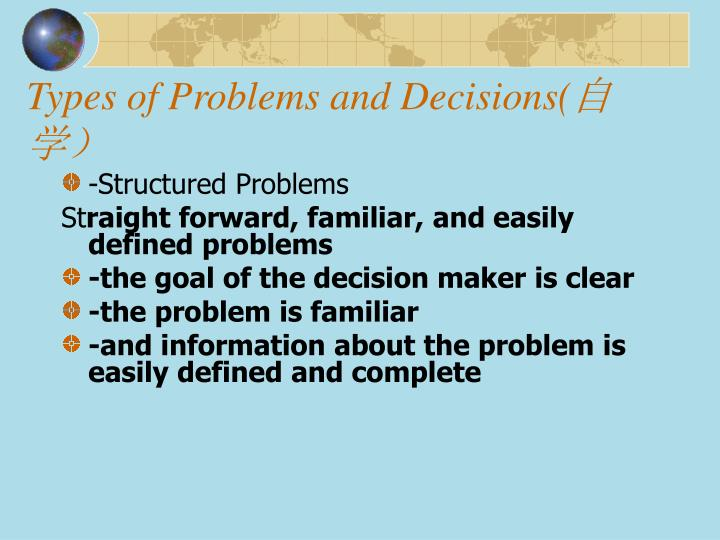 Types of Problems and Decisions(