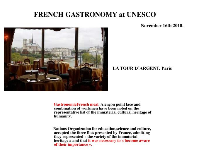 FRENCH GASTRONOMY at UNESCO