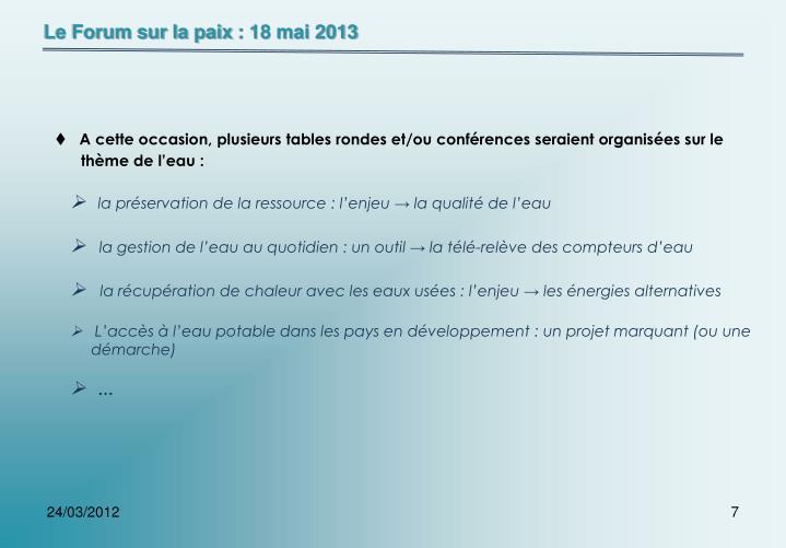 Le Forum sur la paix: 18 mai 2013