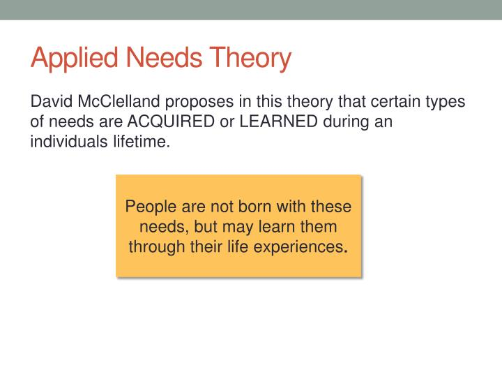 Applied Needs Theory