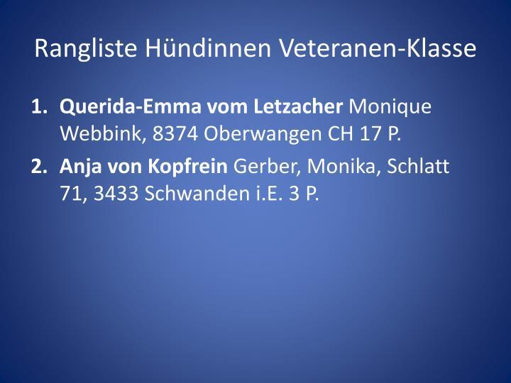 Rangliste Hündinnen Veteranen-Klasse