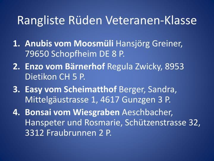 Rangliste Rüden Veteranen-Klasse