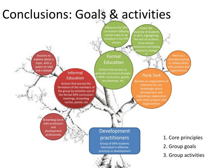 Conclusions: Goals & activities