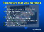 parameters that was morphed