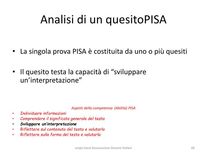 Analisi di un quesitoPISA
