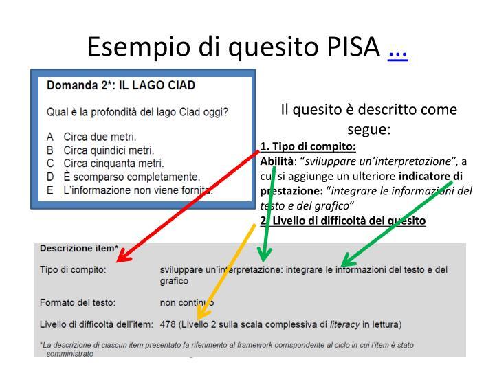 Esempio di quesito PISA