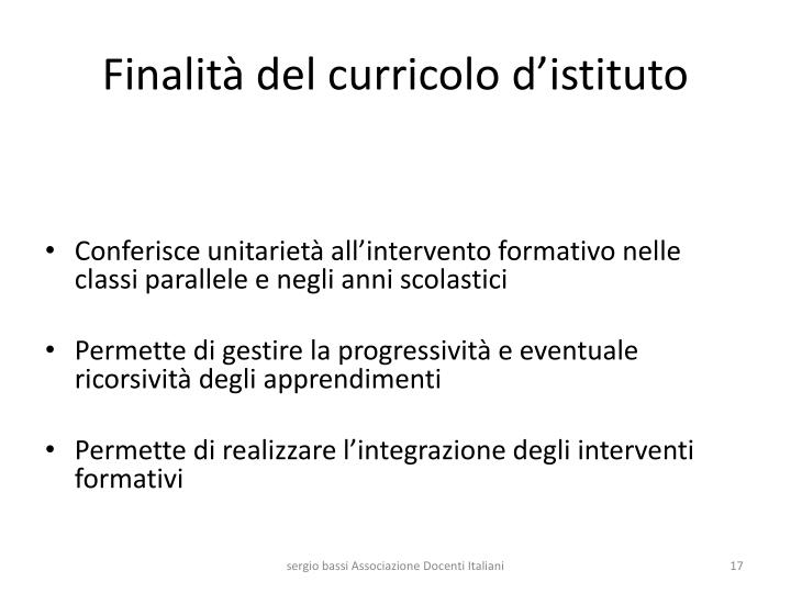 Finalità del curricolo d'istituto