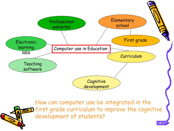 How can computer use be integrated in the first grade curriculum to improve the cognitive development of students?