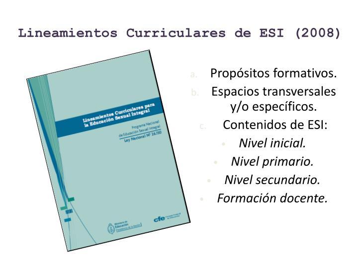 Lineamientos Curriculares de ESI (2008)