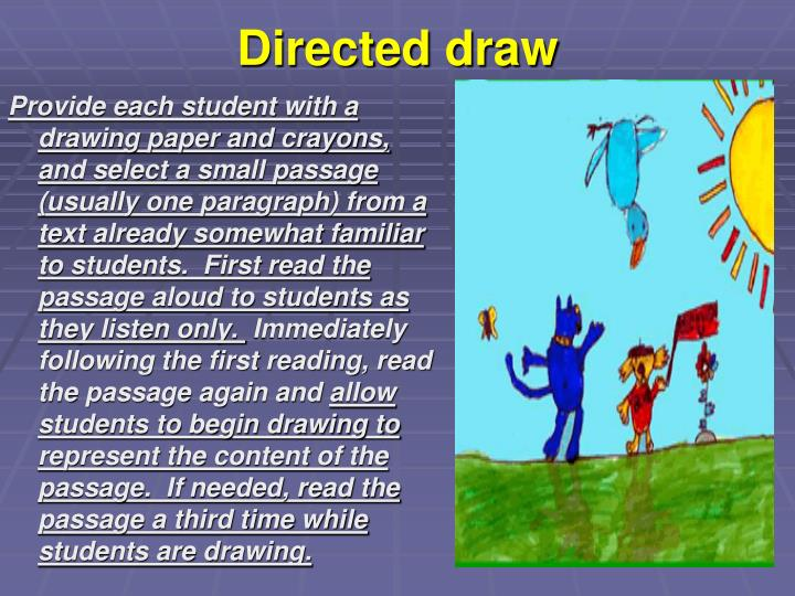 Provide each student with a drawing paper and crayons, and select a small passage (usually one paragraph) from a text already somewhat familiar to students.  First read the passage aloud to students as they listen only.
