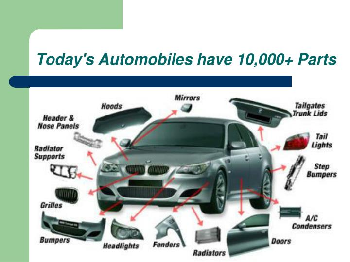 Today's Automobiles have 10,000+ Parts